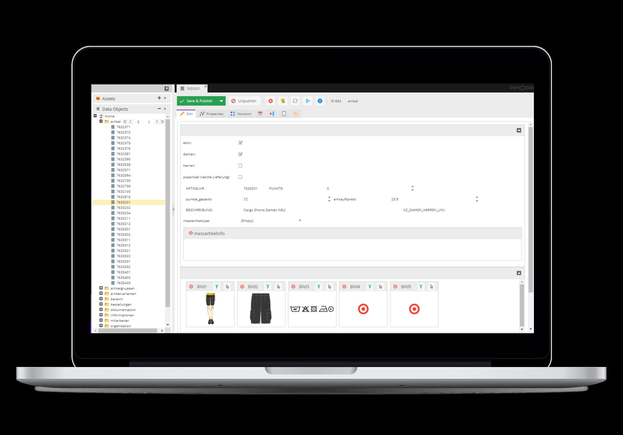 PIM Systemansicht - Datenbearbeitung